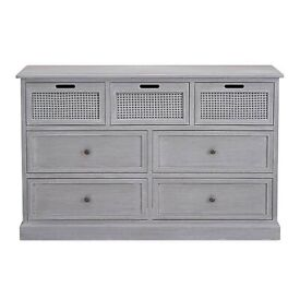 New Dunelm Range - Lucy Cane Grey 7 Drawer Chest Furniture