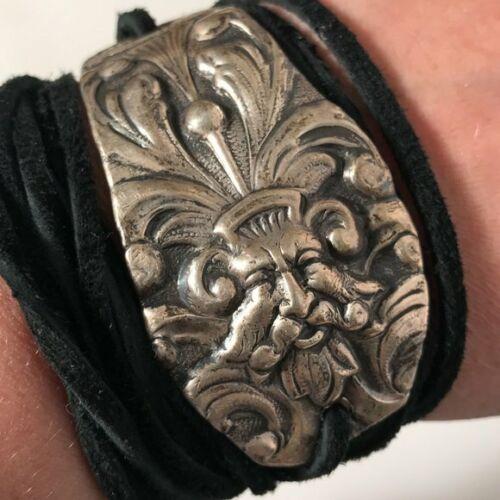 Antique GREEN Man Wrap Bracelet Sterling Silver Yoga Genuine Suede Lucifer Devil