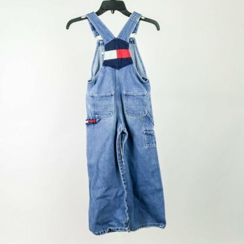Vintage Retro 90s Tommy Hilfiger Flag Embroidered Wide Leg Overalls Small