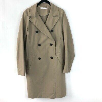 +J Uniqlo Jil Sander Double Breasted Tan Vented Notch Collar Raincoat M