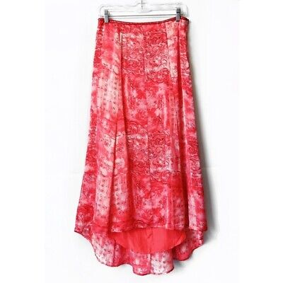 Vintage Hype Pink Maxi Flowy A-line Skirt Beaded Embellished Womens Sizes Medium