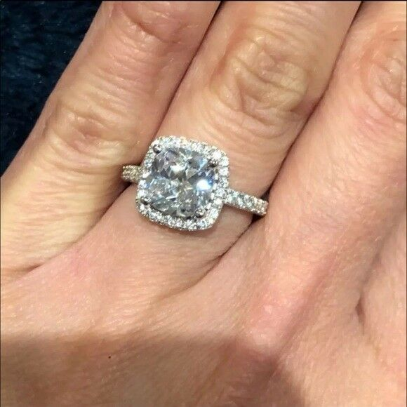 2 Carat Princess Cut Engagement 925 Sterling Silver Plated R