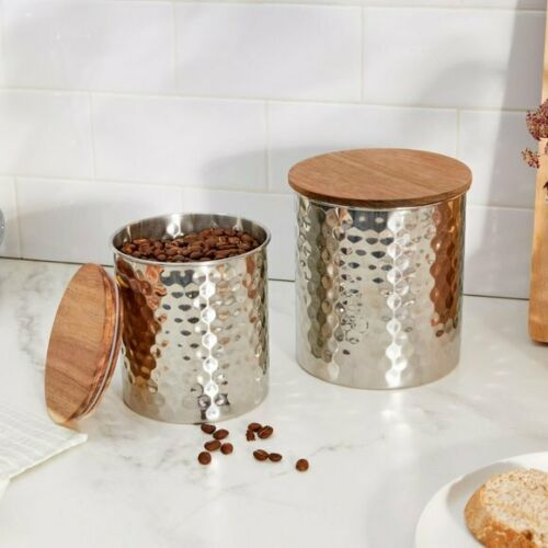 Uncommon James Hammered SILVER Canister Storage Set 2 piece Can, Dishwasher Safe