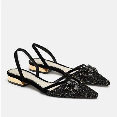 Zara Woman Black tweed Embellished Flat Slingback slides size 6.5