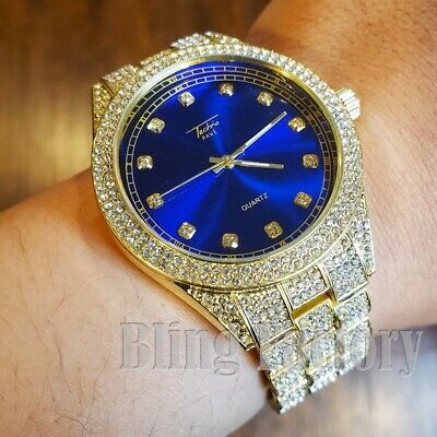MENS ICED HIP HOP GOLD PT LUXURY BLUE DIAL METAL BAND WRIST BLING FASHION WATCH