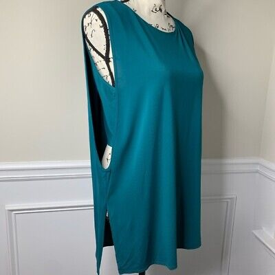 Helmut Lang teal peek a boo sleeveless so soft tunic top size L spring summer