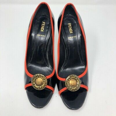 Fendi Italy Black High Heels With Red Trim 8.5