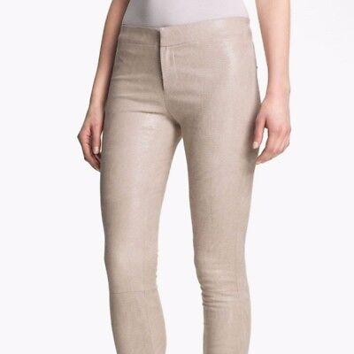 J Brand White Beige Parfait Leather Skinny Pants Size 6