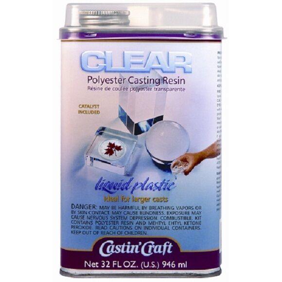 Clear Polyester Casting Resin Mix Castin Craft 32 Oz Liqu...