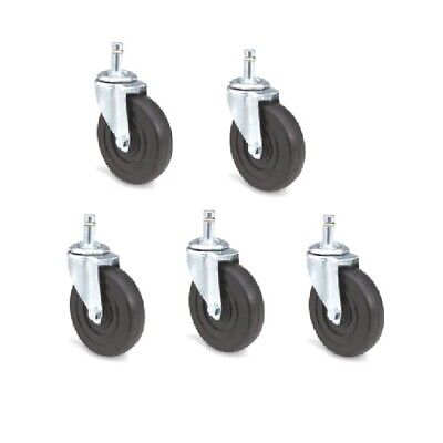 Pack Of 5 Swivel Casters W 4 Hard Rubber Wheels And 716 Grip Ring Stems