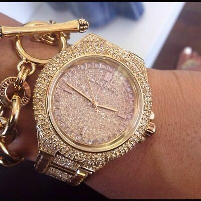 NEW GENUINE MICHAEL KORS MK5862 CAMILLE ROSE GOLD PAVE CRYSTAL GLITZ WOMEN WATCH