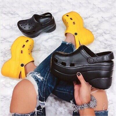 Cape Robbin Gardener Black Platform Clogs Slippers Fashion C