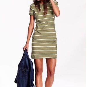 Old Navy green white striped summer shift dress SZ Small casual