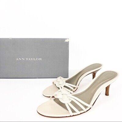 Ann Taylor Size 6.5 Alexandria Rye Kitten Heels Cream Ivory Backless Womens