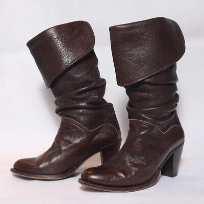Frye Dorado Slouch Fold-Over Cuff Leather Boots Womens Size 9 M Brown 77580