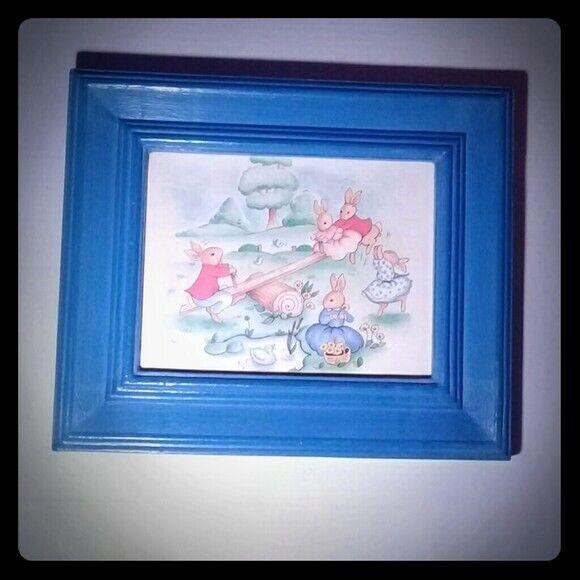 Bunnykins vintage nursery blue frame picture