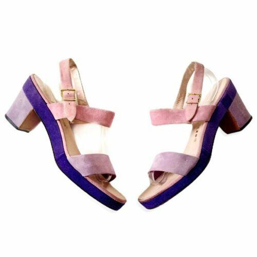 Vintage Herbert Levine color block platform sandal, size 7 1/2B
