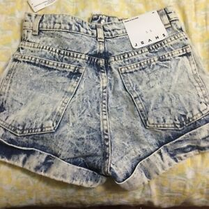NEW American Apparel high waist jean cuff shorts