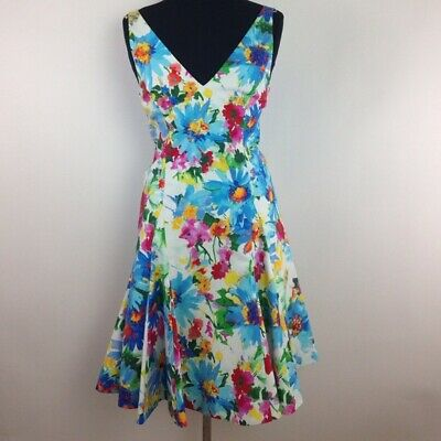 New Polo Ralph Lauren Womens Floral Print V Back Dress Derby Size 4 8 10 12