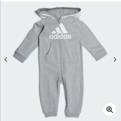 NEW Authentic Adidas Gray Hooded, Footless Full-Zip Coverall -