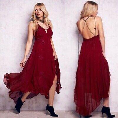 Free People WOMEN'S Wine Blue Moon Maxi Dress Size 0 MSRP $268