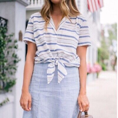 Equipment Keira Tie Front Striped Shirt Short Sleeve Cotton White Size Small