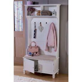 Brand New Seating Area Shoe Storage Cabinet Cupboard White Organiser Unit Tall Hallway