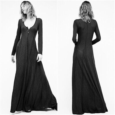 NWT Free People XS Wildflower Maxi Dress of Victorian Miles Gray Black Henley