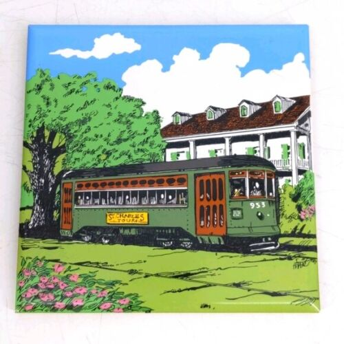 """Vintage New Orleans Tile Trivet Garden District 6"""" x 6"""" Made In Japan"""