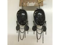 All saints earrings black stone