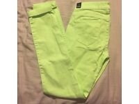 Hollister neon green skinny stretchy jeans waist 29 inches, Brand New