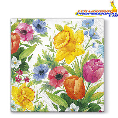 20 Paper Lunch Napkins SPRING MEADOW Serviettes Flowers Daffodil Tulips 3ply