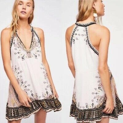 Free People Steal The Sun Printed V Neck Tunic Dress Ivory Large L $118 NWOT