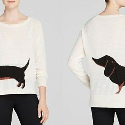 Dachshund Black Tan Weiner Dog Wool Sweater Nwt   Size S Small French Connection