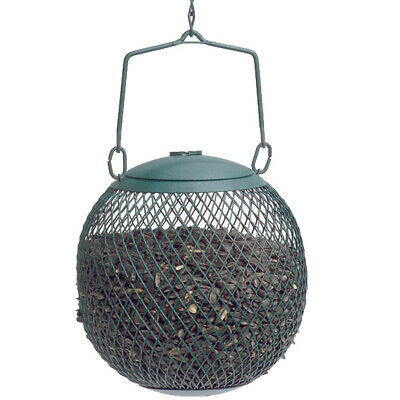 Green Seed Ball Metal Wild Bird Feeder Black Oil Sunflower Seed Dispenser