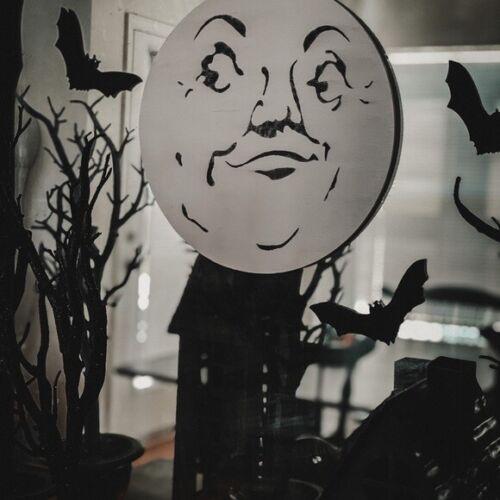 Man in the moon Halloween wood sign