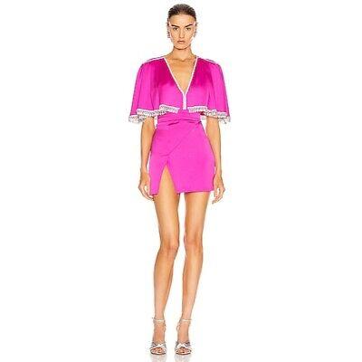 RAISA&VANESSA Beaded Satin Mini Dress Hot Pink Crystal 34 Luxury Party $2469