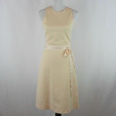 $485 THEORY Wool Blend Franny B Dress 4 Ivory Fit+Flare Midi A-line Sheath Small