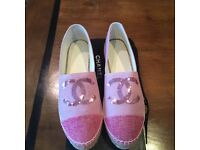 Chanel cruise pink secquin espadrilles size 38 (euro) U.K. 5