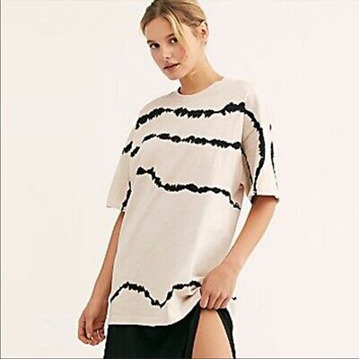 Free People Tie Dye Oversize Tee by Daydreamer Ivory & Black T Shirt Szs XS S L