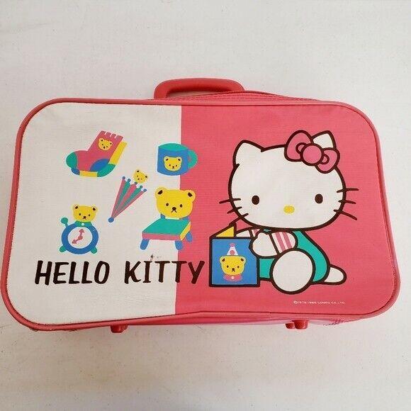 VTG Sanrio Hello Kitty Kids Pink Luggage Zip Suitcase 1989 Vintage 17 x 10 x 4