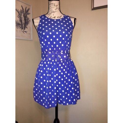 Vintage 80s 90s Sleeveless Blue Polka Dot Belted Shorts Romper
