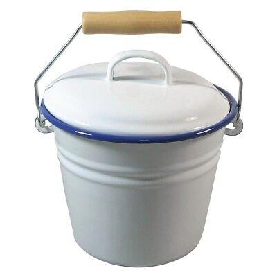 Emaille 1,5 Liter Eimer Bioeimer Kindereimer mit Deckel Weiß Rand Royalblau