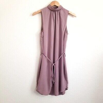 H&M Mauve Tie Waist Sleeveless Shift Dress Size 8