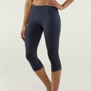 LULULEMON In The Flow Crop II - Heathered Deep Navy Sz 4 RaRe
