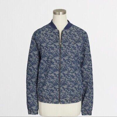 JCREW S Baseball Chambray Floral Jacket Bomber Brocade Zip Excellent