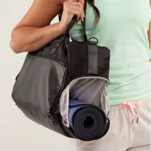 "Lululemon ~ Yoga On The Run Duffel Bag ~ Black ~ 11"" x 11"" x 18""   up to 50lbs"