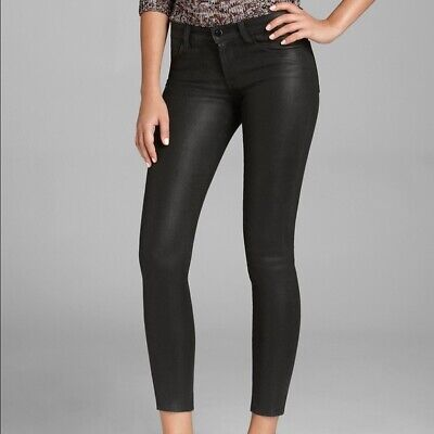 J Brand Jeans - 620 Super Skinny Lacquered Jeans - 24 - Black Coated Wax $293