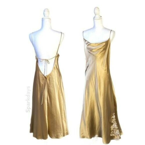 Vintage Private Luxuries Satin Gold Tan Draping Strappy Lingerie Maxi Dress XXL
