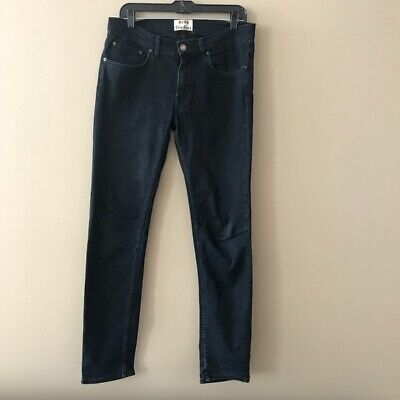 Acne Studios Zip Fly Jeans Ace Blue/Black Five Pocket Denim Jeans Size 32/32